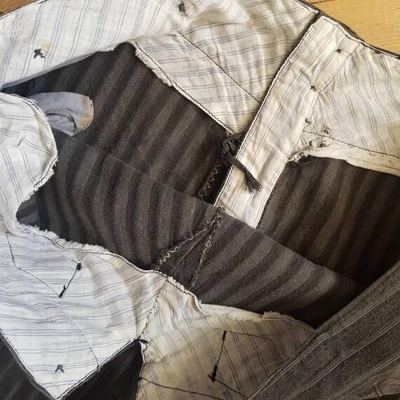 1940s French Salt Pepper Grey Stripe Workwear Tro… - image 8