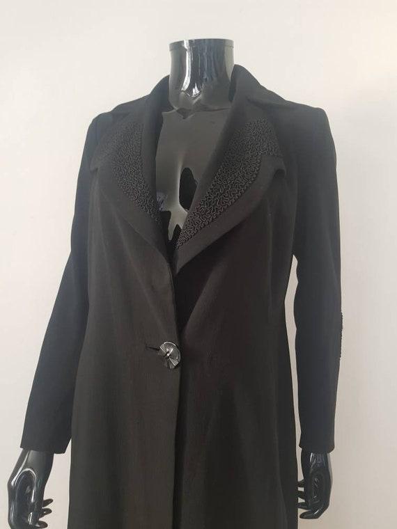 1930s Deco Jacket Black Crepe Long Line Soutache R