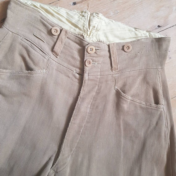 1940s French Workwear Breeches Chore Pants Button… - image 2