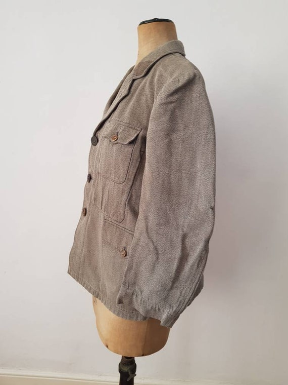 1930s French Hunting Jacket Animal Buttons Revere… - image 2