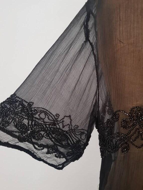1920s Sheer Black Silk Dress Beaded Tunic Slip XS - image 5