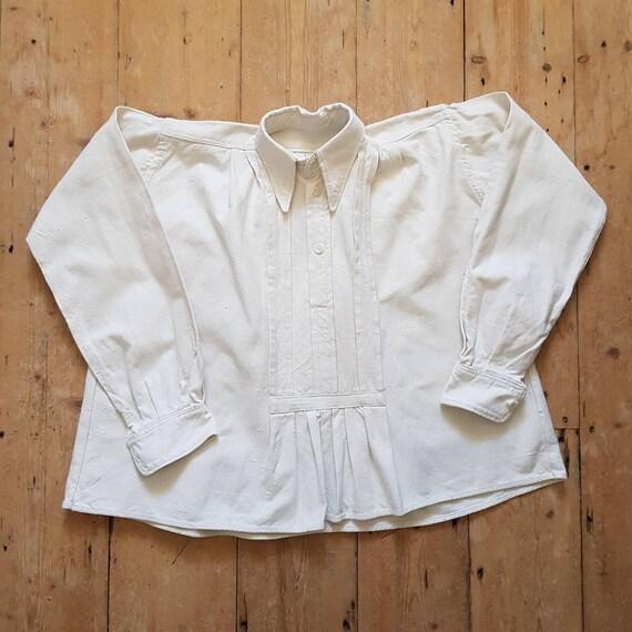 1930s Hungarian natural linen folk shirt blouse Ea