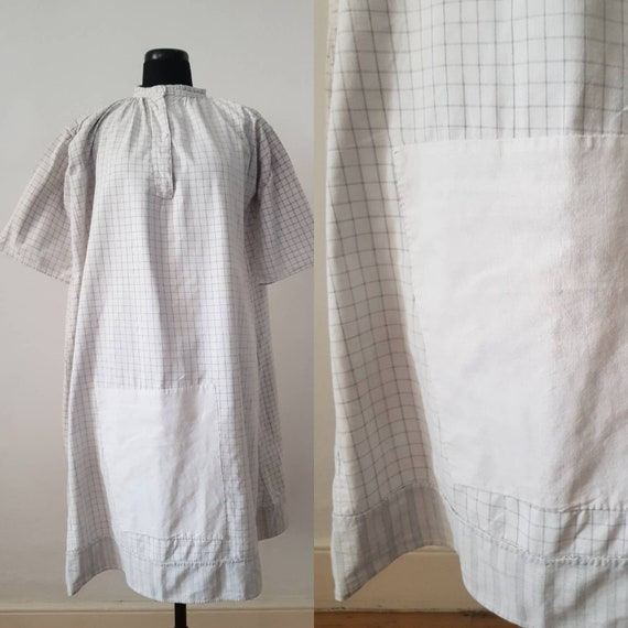 1930s French Workwear Chore Shirt Dress Checked Sh