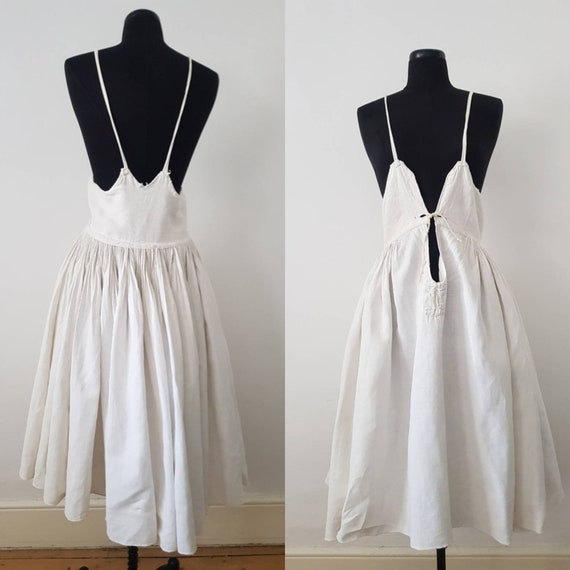 1930s Slovakian White Linen Folk Dress Traditional