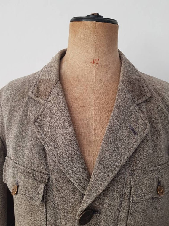 1930s French Hunting Jacket Animal Buttons Revere… - image 3