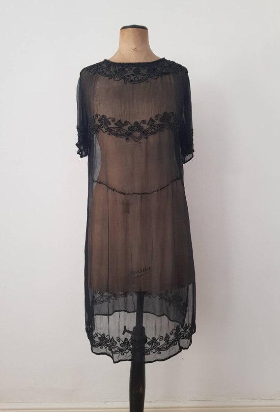 1920s Sheer Black Silk Dress Beaded Tunic Slip XS - image 1