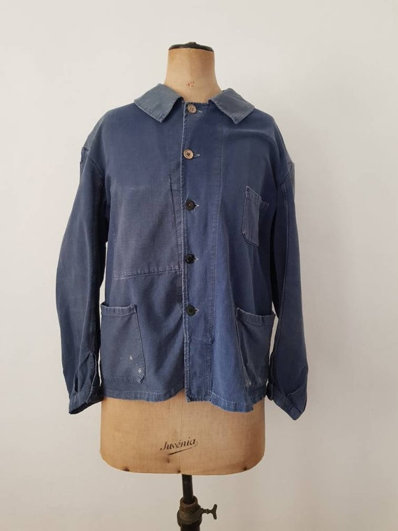 1940s 50s French Workwear Jacket Blue Cotton Butto