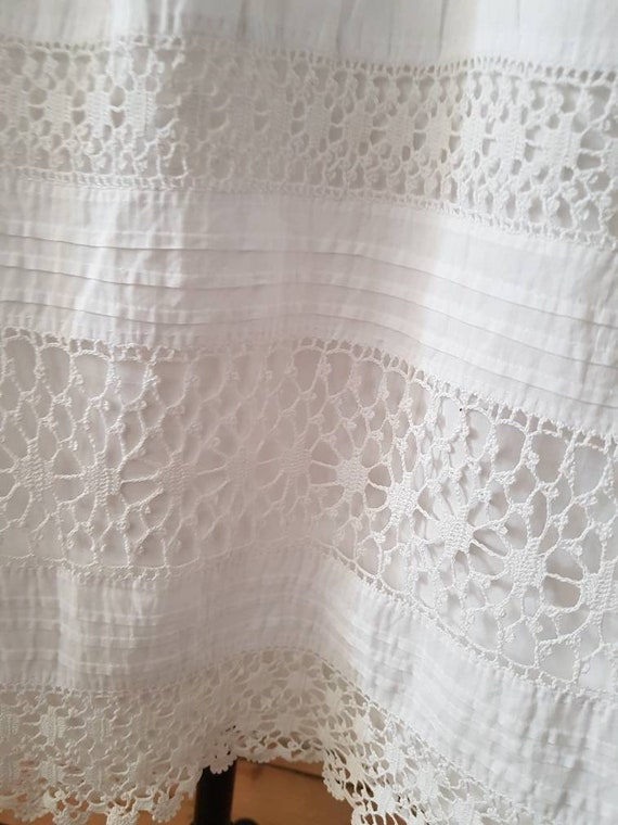 Antique French 1910s White Cotton Crochet Lace Su… - image 7