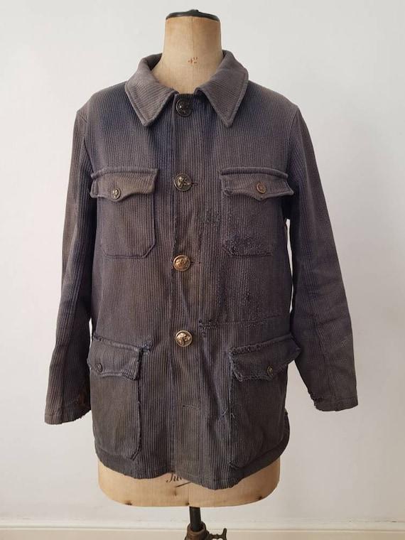 French Hunting Jacket Grey 1950s Workwear