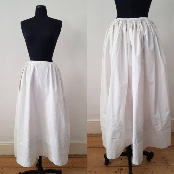 Antique French White Cotton Underskirt Petticoat E