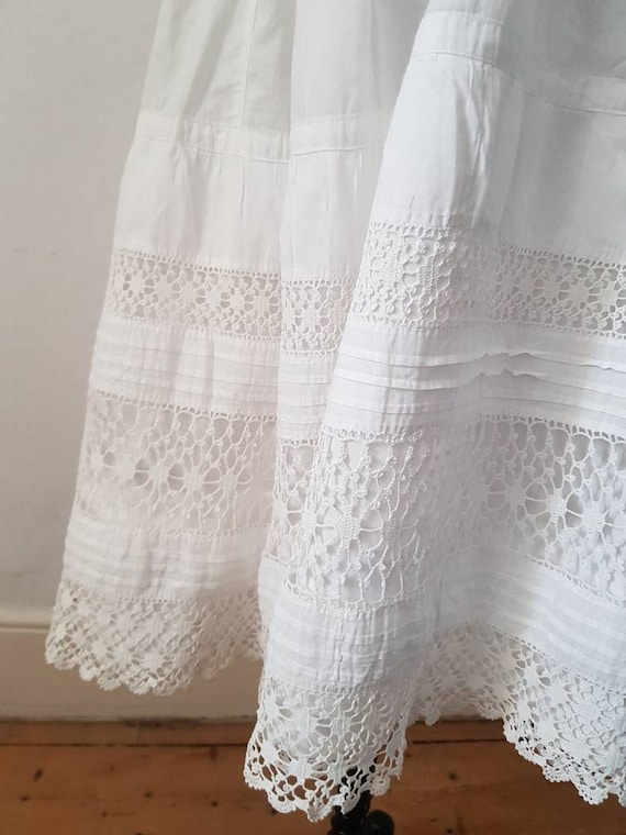 Antique French 1910s White Cotton Crochet Lace Su… - image 3