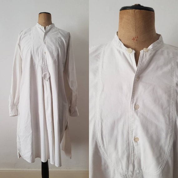 Early 1900s French Antique White cotton shirt long