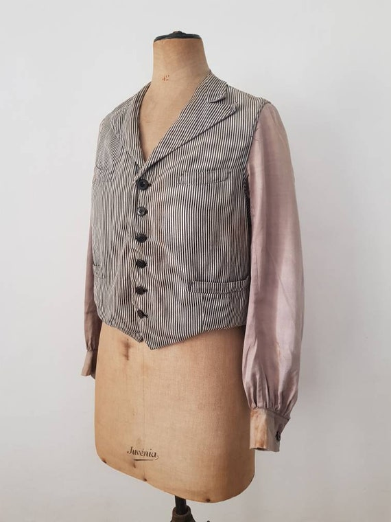 French 1920s -30s Waistcoat Jacket Stripe Workwear