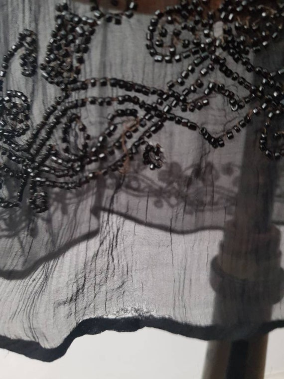 1920s Sheer Black Silk Dress Beaded Tunic Slip XS - image 7