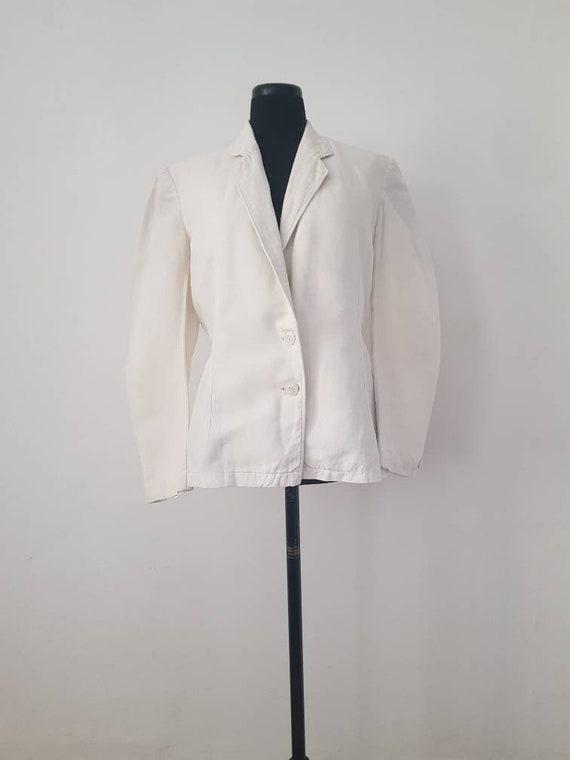 1930s French White Linen Blazer Jacket S