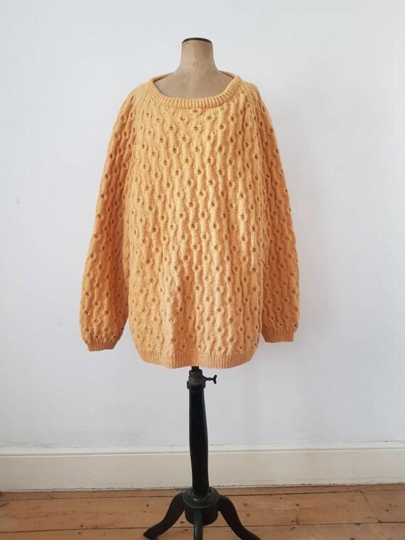 Pumpkin Hand Knit Jumper Sweater Textured Orange