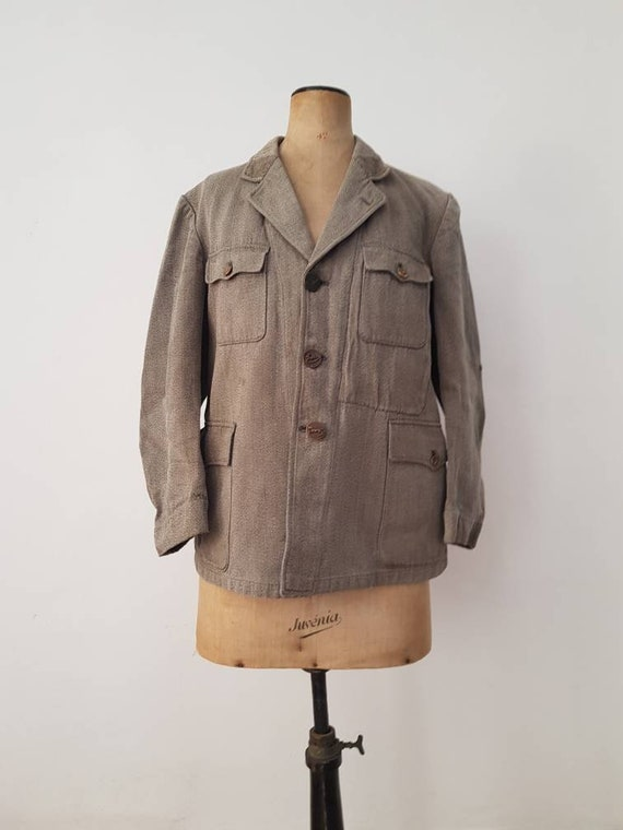 1930s French Hunting Jacket Animal Buttons Revere