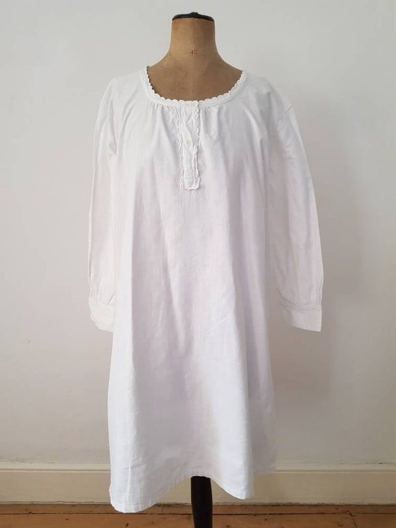 Antique French White Cotton Nightgown Shirt