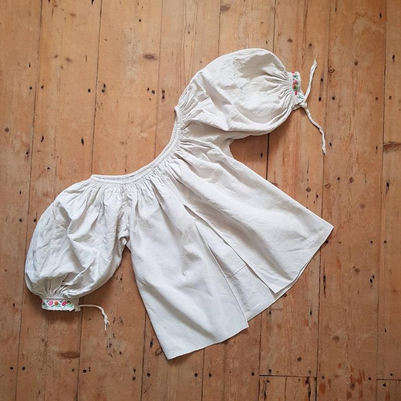 1930s Slovakian Folk Blouse Linen Big voluminous Sleeves embroidered pleats Monogrammed P T Eastern European
