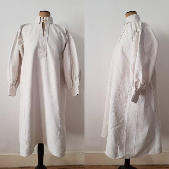 Romanian linen smock stripe weave long shirt dress