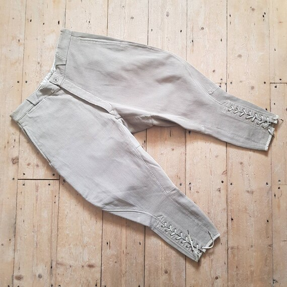 1950s French Breeches Tie Calves Woven Stone Workw