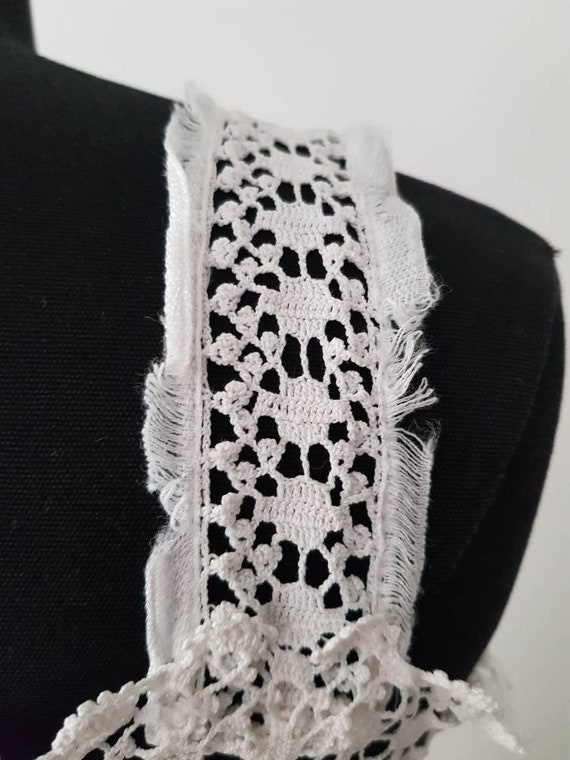 Antique French 1910s White Cotton Crochet Lace Su… - image 8