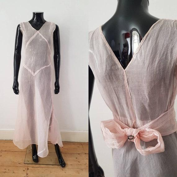 1930s Sheer Pink Organza Dress  Sleeveless Diamant