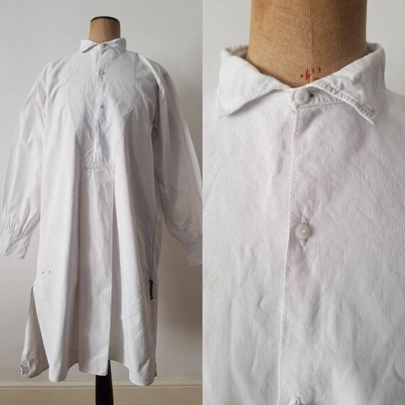1910s French white cotton shirt long monogram B.F