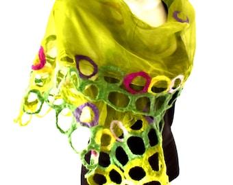 Nuno Felted Scarf, Nuno Felted Silk Scarf, Lime Green Purple Pink, Silk Merino Wool Felted Scarf, Lightweight Lacy Circles Design