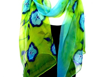Hand Painted Silk Scarf, Lime Green Turquoise Blue, Silk Chiffon Scarf, Floral Silk Scarf, Gift For Her