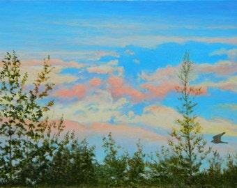 "Original Painting, Oil Painting, Painting On Canvas, Minimalist Painting, Sky Painting, Landscape Painting, Audet, ""Passenger"", 18x24"