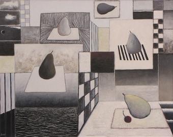 "Original Painting, Mixed Media Painting, Black And White Painting, Pear Painting, Still Life Painting, Jacques Audet, ""Elevation"", 20.5x26"
