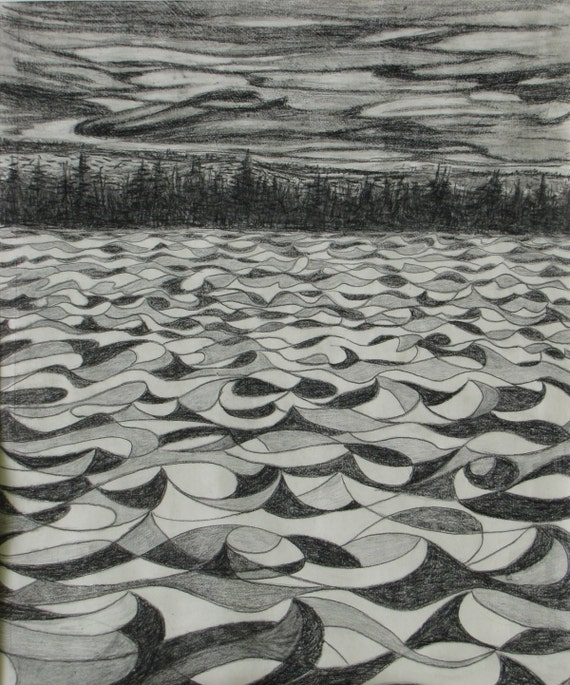 Art Original Crayon Graphite Dessin Paysage Noir Et Blanc Etsy