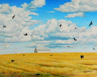 "Original Painting, Large Painting, Landscape Oil Painting, Minimalist Painting, Bird Painting, Jacques Audet, ""Completely Aerobatics"", 30x40"