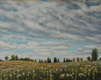 """Original Painting, Landscape Painting, Oil Painting, Sky Painting, Cloud Painting, Wild Flower Painting, Audet, """"Rolling Clouds"""", 18x24"""