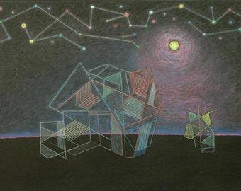"Original Painting, Mixed Medium Painting, Futurist Painting, Abstract Painting, Moonlight Painting, Night Painting, Audet, ""Full Moon"" 18x24"