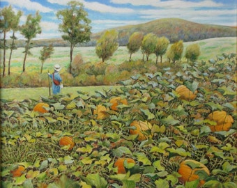 """Original Painting, Landscape Painting, Oil Painting, Scarecrow Painting, Pumpkin Painting, Country Painting, Audet, """"Tone on Tone"""", 22x26"""