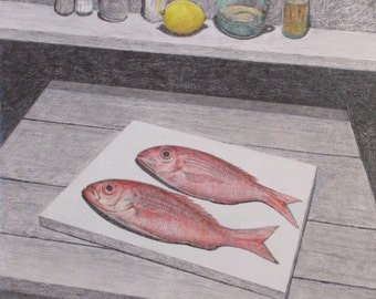 """Original Pencil Drawing, Still Life Drawing, Fish Drawing, Jacques Audet, """"Meal For Two"""", 20x24"""
