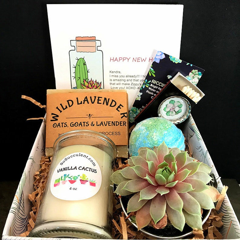 Candle and Succulent Housewarming Gift Happy New Home Live SUCC/SOAP/BOMB/CANDL
