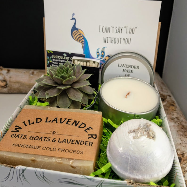 Bridesmaid Proposal Gift box Live Succulent Wood Wick Candle image 0
