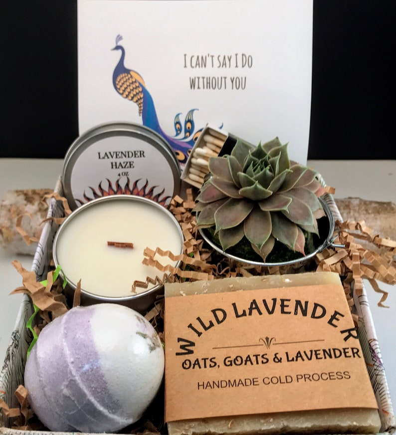 Bridesmaid Proposal Gift box Live Succulent Wood Wick Candle SUCC/CANDL/SOAP/BOMB