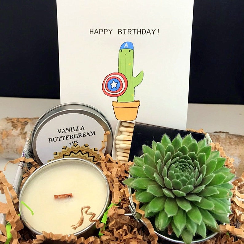 Happy birthday box live succulent WOOD Wick gift box Plant image 0