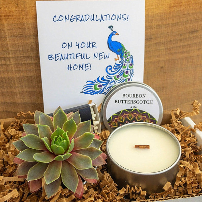 Wood Wick Candle Succulent New Home Gift  Housewarming gift image 0