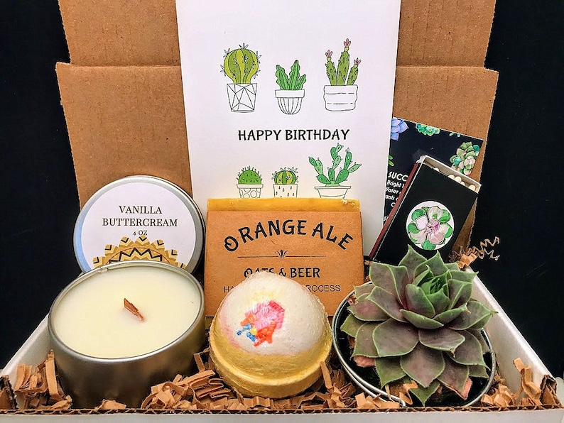 Happy Birthday Succulent Wood Wick Candle Birthday Gift image 0