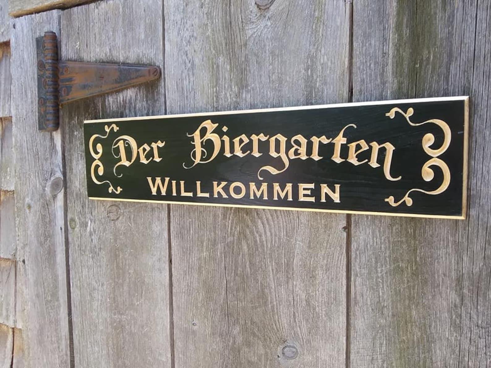 Carved Engraved Der Biergarten Sign Black with natural lettering Beer Sign German Sign