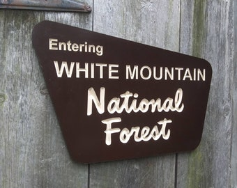 Routed / Carved Replica Entering  White Mountain National Forest  Trail Wooden Sign Mt Washington White Mountains NH