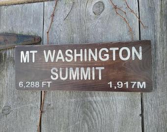 Replica Mount Washington Summit  Wooden Shabby Primitive Distressed Sign Mt Washington