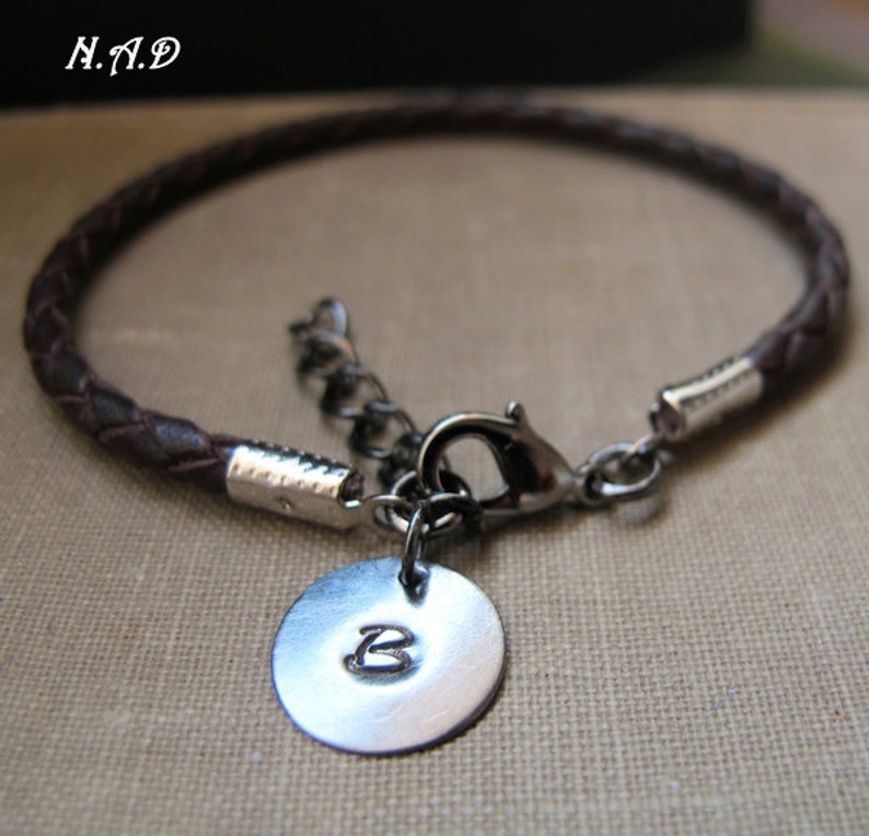 083310e4cc942 Personalized Mens Charm Bracelet. Braided Leather Brown Bracelet. Gift for  Him. Initial Disc. Initial Mens Bracelet
