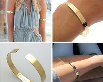Fashion Gold Cuff Bracelet, Summer Bracelet, Personalized Bracelet for Her, Glamour Bracelet, Gold Bracelet, Upper Cuff Bracelet