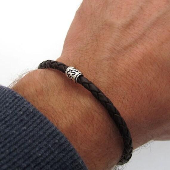 pas mal 594b0 57602 Bracelet homme, bracelet en cuir pour hommes, bijoux pour homme - Bracelets  en cuir tressé pour homme, noir / marron en cuir Braceletwith perle Unique